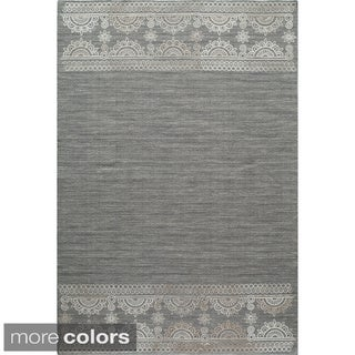 Needlepoint Block Print Flat Weave Reversible Wool Area Rug (2' x 3')