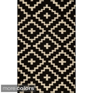 Mersa Diamonds Flat Weave Reversible Wool Dhurrie Area Rug (2' x 3')