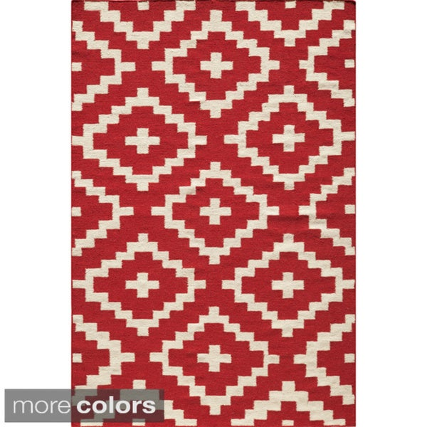 Mersa Links Reversible Flat Weave Wool Dhurrie Area Rug (2' x 3')