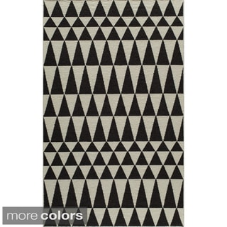 Mersa Triangles Reversible Flat Weave Wool Dhurrie Area Rug (2' x 3')