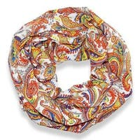 Peach Couture Orange Victorian Damask Loop Scarf