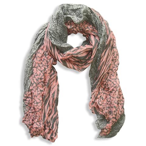 Peach Couture Retro Salmon Grey Zebra/ Leopard Mix Animal Print Crinkle Scarf