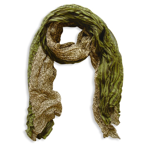 Peach Couture Retro Cream and Green Zebra/ Leopard Mix Animal Print Crinkle Scarf. Opens flyout.