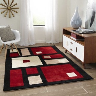 Momeni New Wave Black Hand-Tufted and Hand-Carved Wool Runner Rug