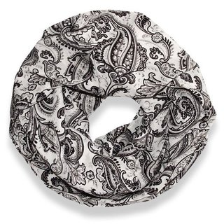 Peach Couture Grey Victorian Damask Loop Scarf