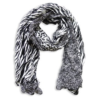 Peach Couture Black Zebra and Leopard Mixed Print Scarf