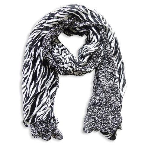 Peach Couture Black Zebra and Leopard Mixed Print Scarf