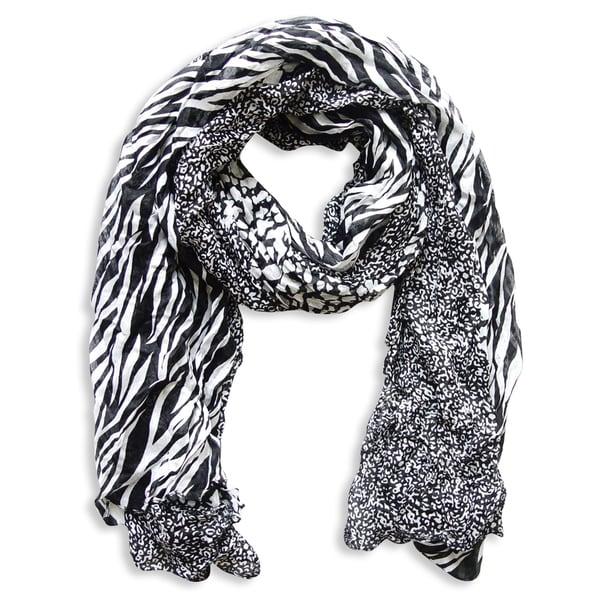 04007fcbb4d Peach Couture Black Zebra and Leopard Mixed Print Scarf