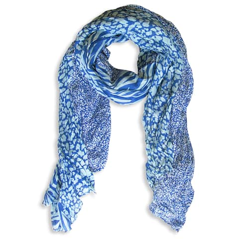 Peach Couture Blue Zebra and Leopard Mixed Print Scarf