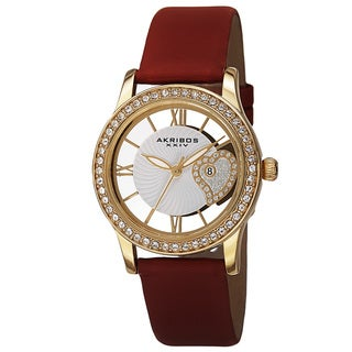 Akribos XXIV Women's Quartz Heart Crystal-Accented Satin Red Strap Watch