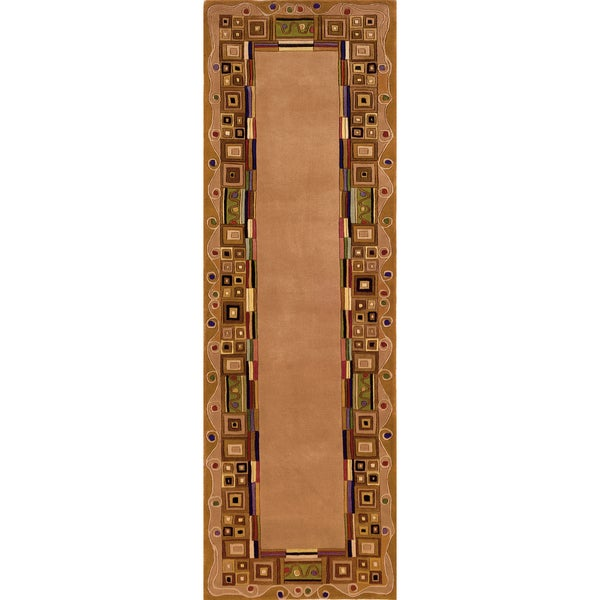 "Momeni New Wave Gold Hand-Tufted and Hand-Carved Wool Runner Rug (2'6 X 8') - 2'6"" x 8' Runner"