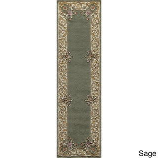 Aubusson Floral Border Hand-tufted Wool Area Rug (2'3 x 12')
