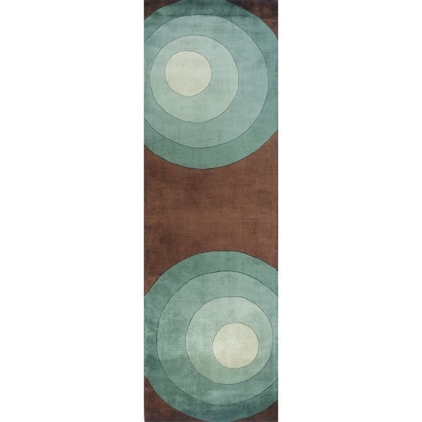 Momeni New Wave Teal Hand-Tufted and Hand-Carved Wool Runner Rug (2'6 X 8')