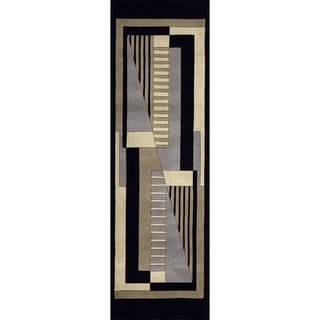 """Momeni New Wave Black Hand-Tufted and Hand-Carved Wool Runner Rug - 2'6"""" x 8' Runner"""