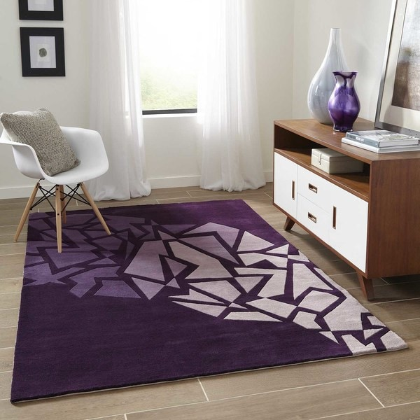 """Momeni New Wave Purple Hand-Tufted and Hand-Carved Wool Runner Rug - 2'6"""" x 8' Runner"""