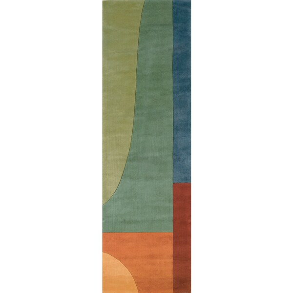 """Momeni New Wave Multicolor Hand-Tufted and Hand-Carved Wool Runner Rug - 2'6"""" x 8' Runner"""