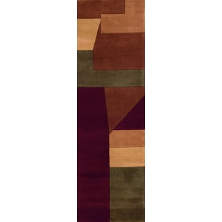 Momeni New Wave Wine Hand-Tufted and Hand-Carved Wool Runner Rug (2'6 X 8')