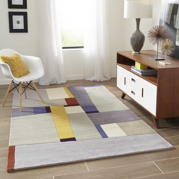 "Momeni New Wave Grey Hand-Tufted and Hand-Carved Wool Runner Rug (2'6 X 8') - 2'6"" x 8' Runner"
