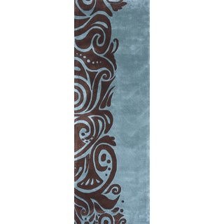 Momeni New Wave Turquoise Hand-Tufted and Hand-Carved Wool Runner Rug (2'6 X 12')