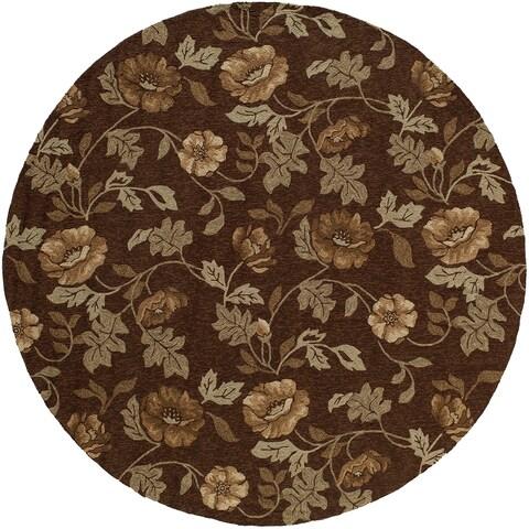 Momeni Veranda Brown Floral Indoor/Outdoor Rug (9' X 9' Round)