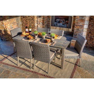 the-Hom Winchester 7-piece Antique Grey Hard Wood/ Grey All-weather Wicker Beige Cushions Patio Dining Set