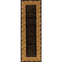 Momeni New Wave Black Hand-Tufted and Hand-Carved Wool Runner Rug (2'6 X 12') - 2'6 x 12'