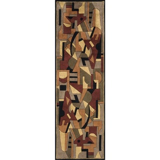 """Momeni New Wave Pomegranate Hand-Tufted and Hand-Carved Wool Runner Rug (2'6 X 12') - 2'6"""" x 12' Runner"""