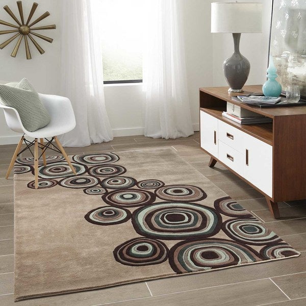 Momeni New Wave Mushroom Hand-Tufted and Hand-Carved Wool Runner Rug (2'6 X 12')
