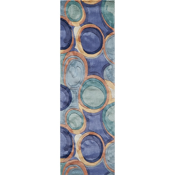 """Momeni New Wave Blue Hand-Tufted and Hand-Carved Wool Runner Rug (2'6 X 12') - 2'6"""" x 12' Runner"""