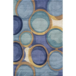 Momeni New Wave Blue Hand-Tufted and Hand-Carved Wool Runner Rug (2'6 X 12')
