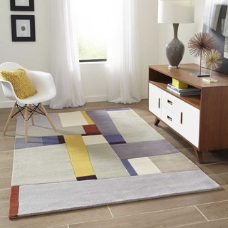 """Momeni New Wave Grey Hand-Tufted and Hand-Carved Wool Runner Rug - 2'6"""" x 12' Runner"""