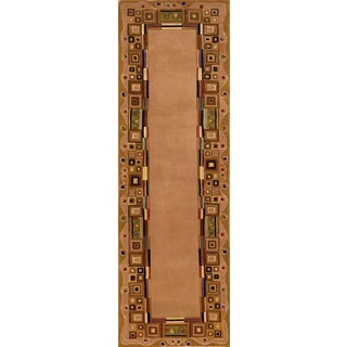 Momeni New Wave Gold Hand-Tufted and Hand-Carved Wool Runner Rug (2'6 X 12')