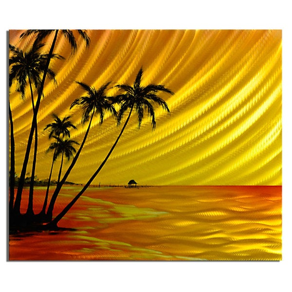 Shop \'Island Sunset\' Medium Metal Wall Art - Free Shipping Today ...