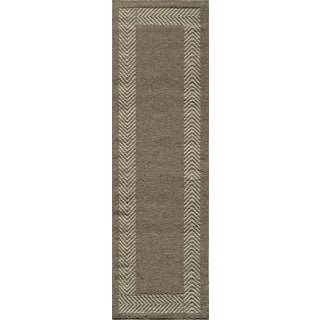 Sorrel Border Reversible Indoor Hand Woven Wool Area Rug (2'3 x 8')