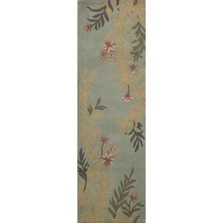 Aubusson Floral Hand-tufted Wool Area Rug (2'6 x 12')