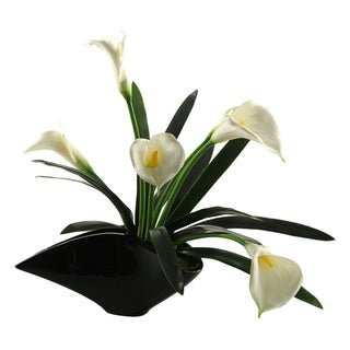 D&W Silks Calla Lilies in Contemporary Resin Planter