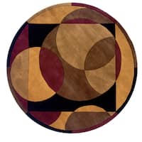 Momeni New Wave Brown Hand-Tufted and Hand-Carved Wool Rug (7'9 X 7'9 Round)