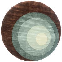 Momeni New Wave Teal Hand-Tufted and Hand-Carved Wool Rug (7'9 X 7'9 Round)