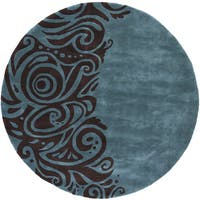 Momeni New Wave Turquoise Hand-Tufted and Hand-Carved Wool Rug (7'9 X 7'9 Round)