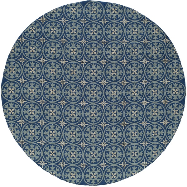 Momeni Veranda Blue Plaza Tile Indoor/Outdoor Rug (9' X 9' Round)