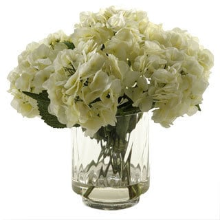 D&W Silks Cream Hydrangeas in Glass Vase