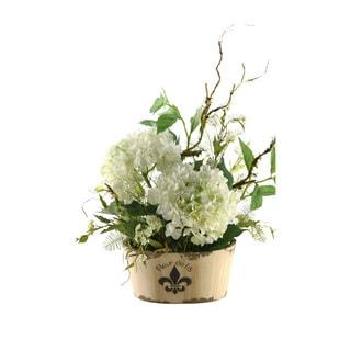 D&W Silks Hydrangeas in Oblong Fleur De Lis Planter