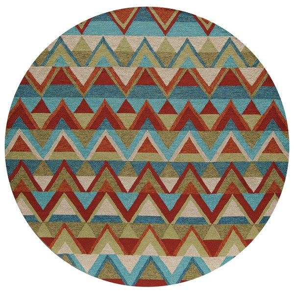 Momeni Veranda Multicolor Aztec Chevron Indoor/Outdoor Rug - 9' x 9' Round