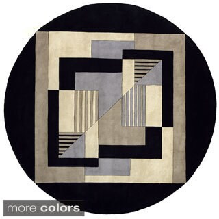 New Wave Graphic Hand-tufted Wool Area Rug (5'9 Round)