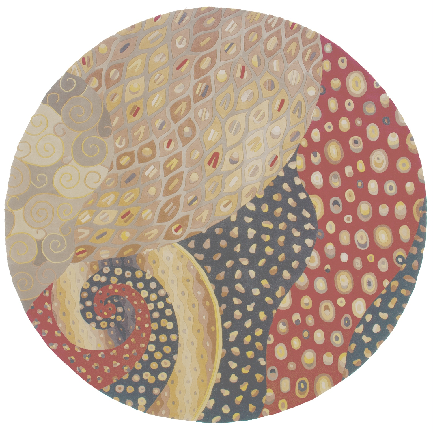 Momeni New Wave Multicolor Hand-Tufted and Hand-Carved Wool Rug (79 X 79 Round) (Natural - 79 x 79 Round)