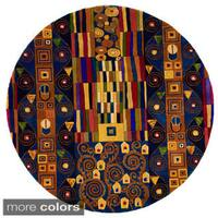 Momeni New Wave Blue Hand-Tufted and Hand-Carved Wool Rug (7'9 X 7'9 Round)