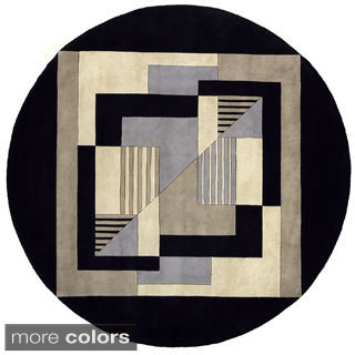 New Wave Graphic Hand-tufted Wool Area Rug (7'9 Round)