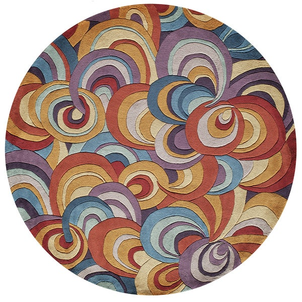 New Wave Funky Hand Tufted Wool Area Rug 7 9 Round