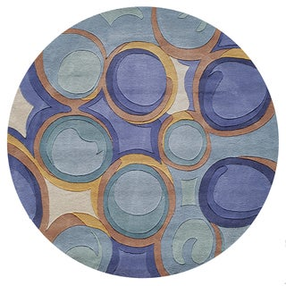 "Momeni New Wave Blue Hand-Tufted and Hand-Carved Wool Rug (7'9 X 7'9 Round) - 7'9"" x 7'9"" Round"