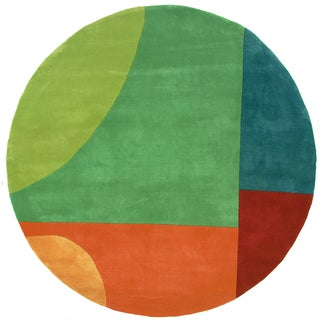 "Momeni New Wave Multicolor Hand-Tufted and Hand-Carved Wool Rug (7'9 X 7'9 Round) - Multi - 7'9"" x 7'9"" Round"